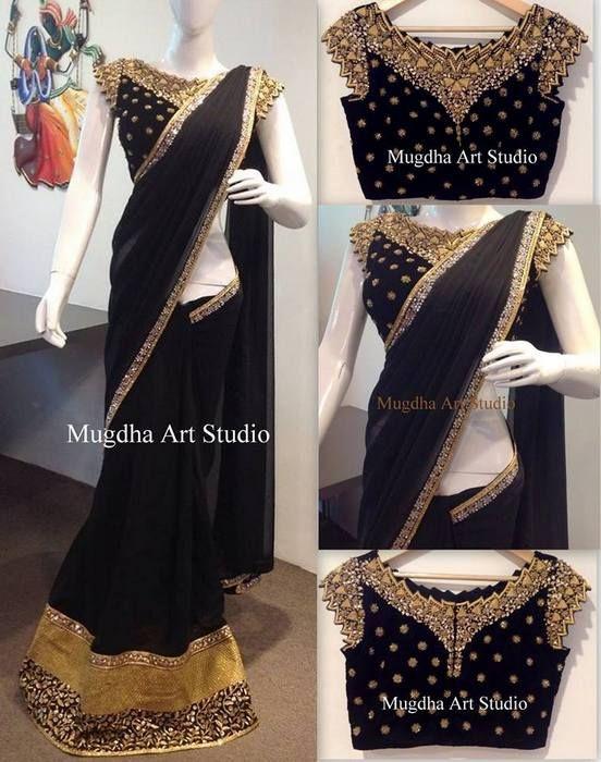 Black Sari Designer Net Blouse | Saree Blouse Patterns