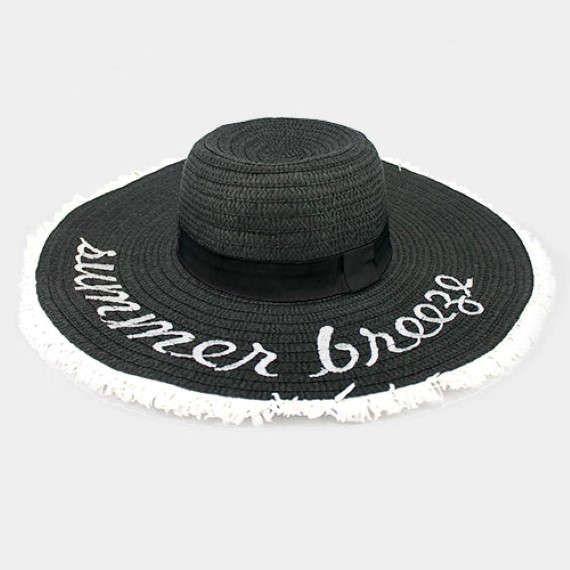 Black & White Summer Breeze Message Floppy Straw Hat