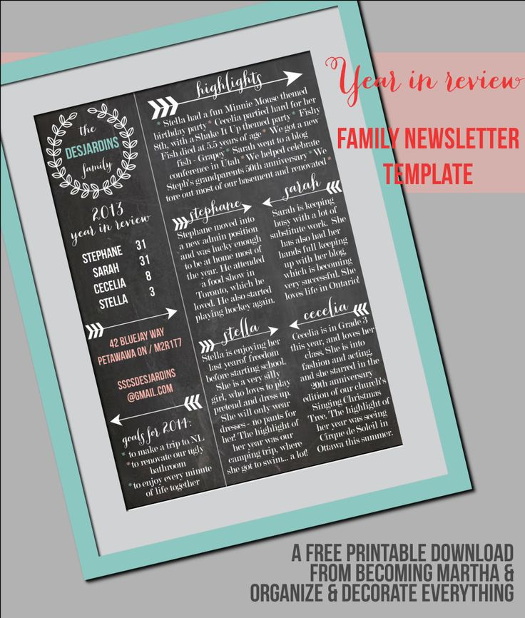Family Newsletter Template 36 best Year in