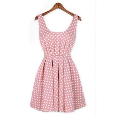 #persunmall Backless Polka Dot Dress [FXBI00200]- US$ 29.99 - PersunMall.com