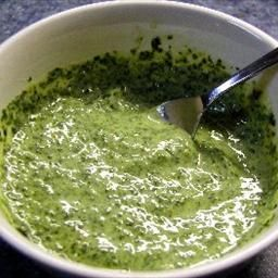 Cilantro-Mint Chutney  This is the bomb had some Indian veg burgers and samosa while in Eureka and this rocked my socks now imma start canning some ((: even my hubs ate on breakfast burritos! Delish!!
