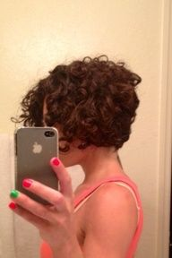 Inverted curly bob - when growing out the pixie cut.