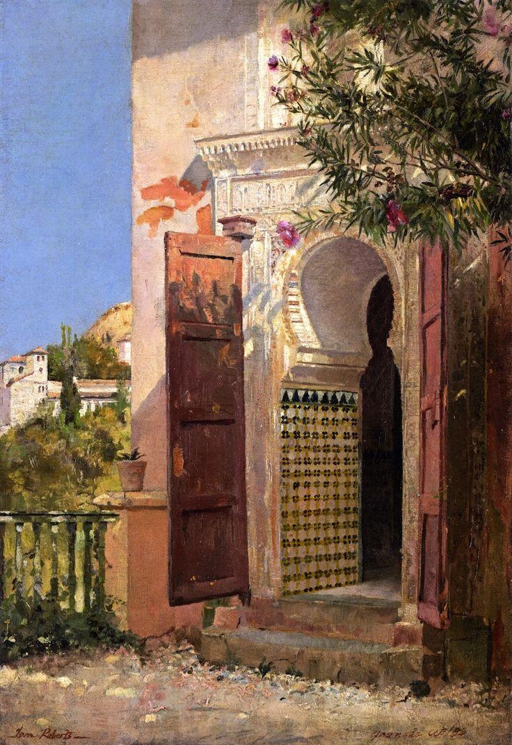 Watercolor artists directory wiki - Tom Roberts Artist A Moorish Doorway