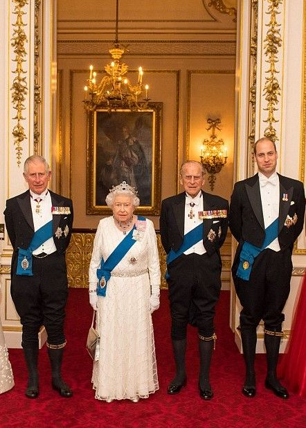 (L-R) Prince Charles, Prince of Wales, Queen Elizabeth II, Prince Phillip, Duke of Edinburgh, and Prince William, Duke of Cambridge arrive for the annual Diplomatic Reception at Buckingham Palace
