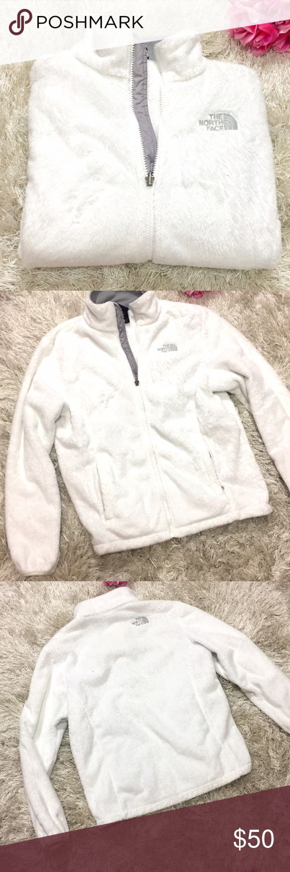 North Face Fuzzy Jacket White High-pile fleece jacket crafted with a tailored waist. Cozy oversized collar, and comfortable stretch cuffs and hem. Relaxed fit. Two secure zip hand pockets. Size large. Feel free to ask questions!  The North Face Jackets & Coats