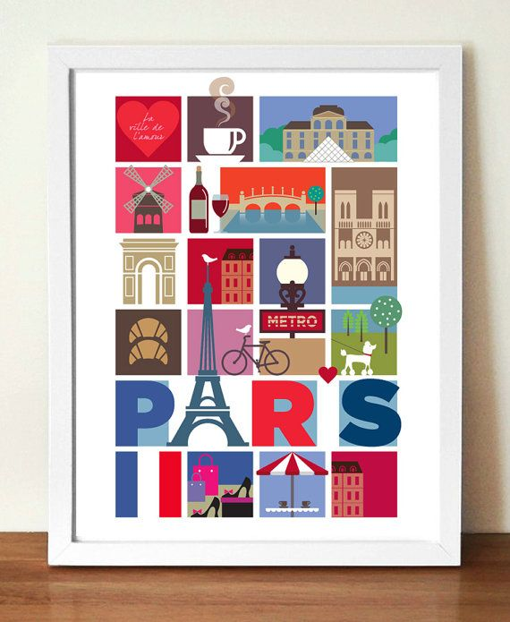 Paris Poster print, mid-century style souvenir poster, 11.7 x 16.5in (A3) giclee print