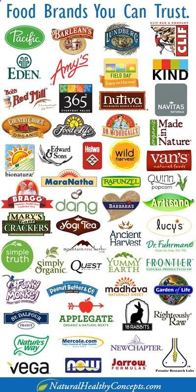 A list of some food brands you can trust. Big Food brands like General Mills, Kellog, Pepsi, Coca-Cola, MM, etc. are buying up small organic brands who dont have our health in their best interest. For example, General Mills now owns Cascadian Farms, Muir