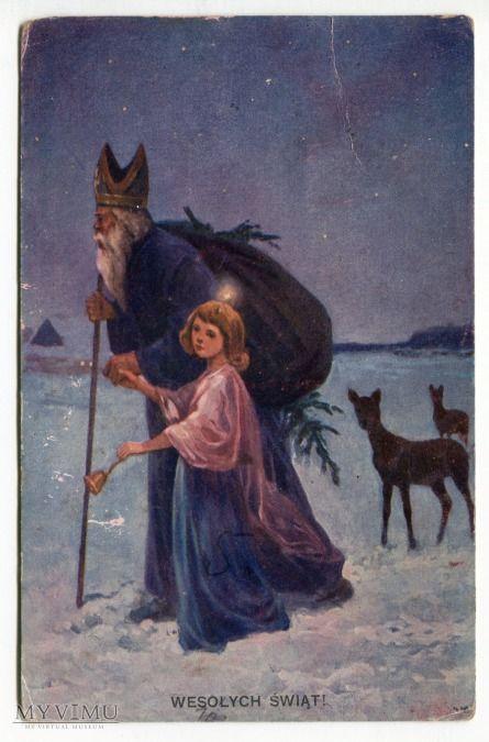 1927 Święty Mikołaj i aniołek Wesołych Świąt
