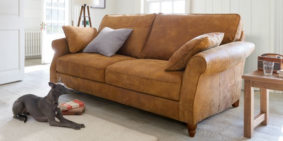 Buy Ashford Leather Large Sofa (3 Seats) Antiqued Leather Light Tan Low Turned - Standard from the Next UK online shop