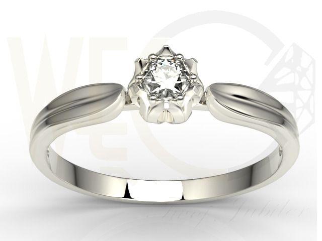 Pierścionek zaręczynowy wykonany z białego złota palladowego i upiększony brylantem/ Engegement ring made from white gold palladium with diamonds #withlove #love #engegement #ring #diamonds