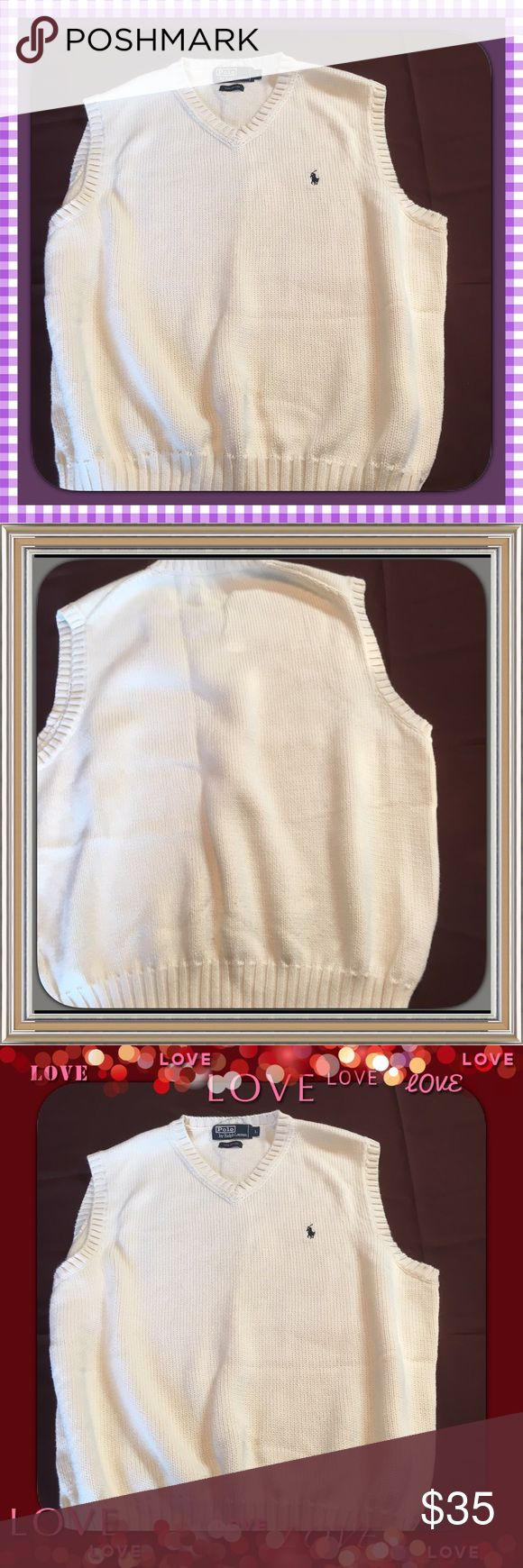 Men's Ralph Lauren Vest PRICED TO SELL   White vest that looks super on the handsome man. Great gift!  Polo vest by Ralph Lauren is gorgeous Size Large Polo by Ralph Lauren Sweaters