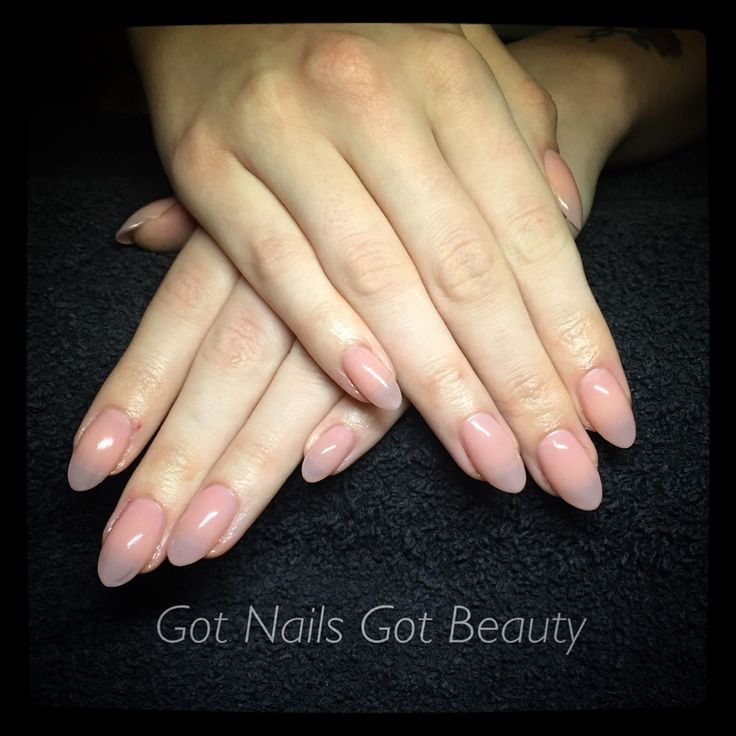 Brisa sculpted gel enhancements with CND shellac - Nude Knickers
