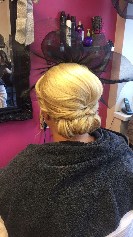 Hair upstyle  #wedding #guest #blonde #up #updo #soft #diamanté #braid #plait #bride #bridesmaid #fascinator #chignon