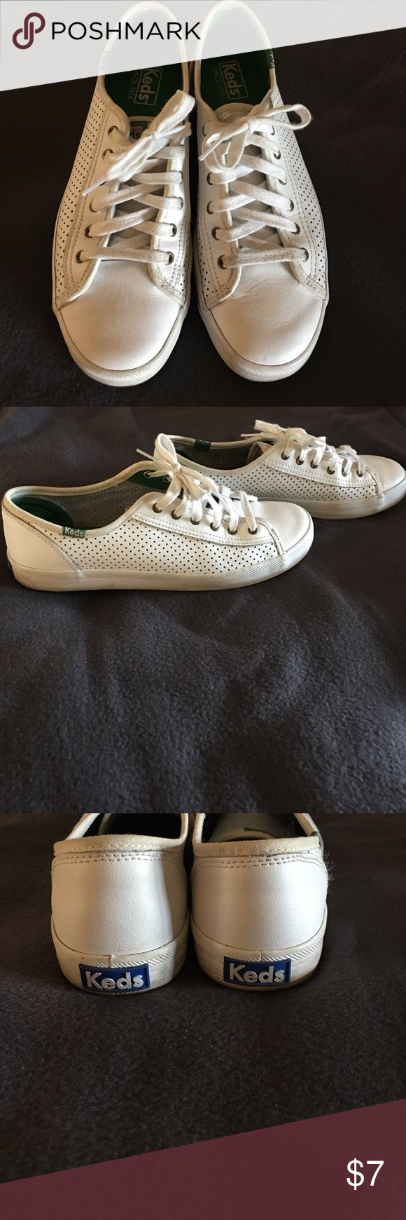 White Leather Keds White Leather Keds- Great condition perfect for summer. Very comfortable Keds Shoes Sneakers