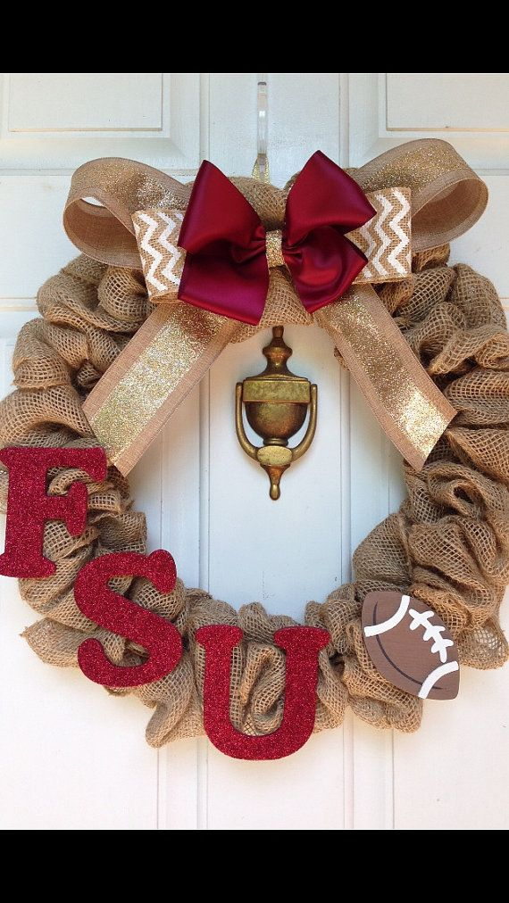 FSU Burlap Wreath Football wreath Florida by CreatedForHome