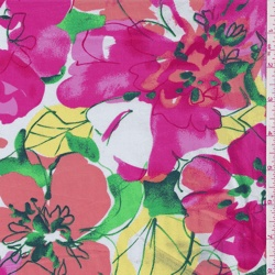 *6 YD PC--Pink/Orange Floral Stretch Poplin