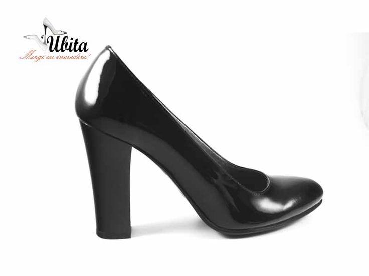 Pantofi cu toc inalt din piele naturala Ubita.ro