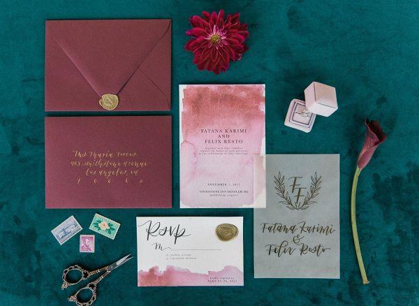 Burgundy Watercolor Wedding Invitation Suite  #wedding #weddings #weddinginspiration #engaged #aislesociety #invitations