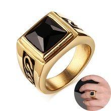 Anillo cuadrado de cornalina negro para hombre …   – Mornigstar ring