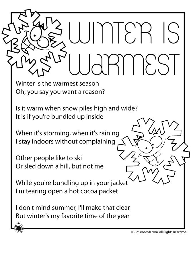 Printable winter kids poems, perfect reading practice for 1st, 2nd and 3rd grade students.