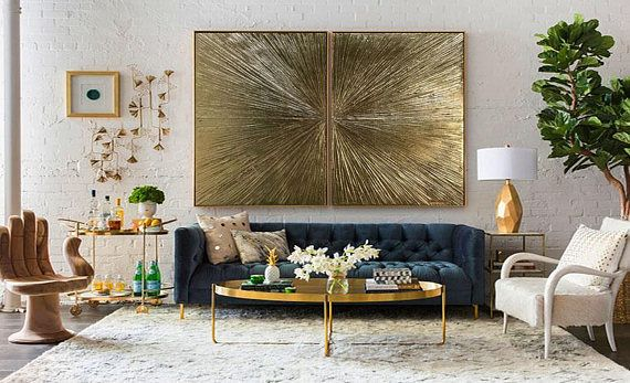"Gold Leaf Artwork Summary Portray Summary Gold Portray diptych ""Rays"" Gold Leaf Textured Portray On Canvas Fashionable Artwork by Julia Kotenko"