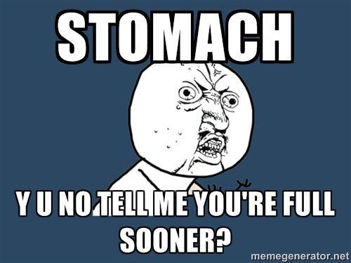 stomach Y u no tell me you're full sooner? - Y U No | Meme Generator