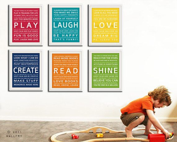 Any TWO Typography art print baby nursery art prints. by Wallfry