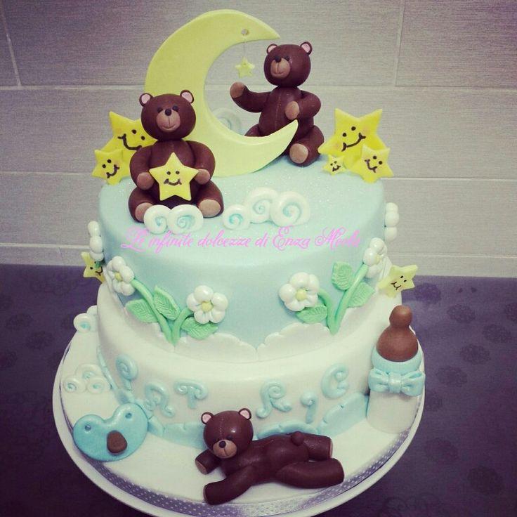 Torta battesimo orsetti luna e stelle