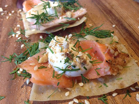 Dukkah-crusted salmon with tahini and dill at Mother Vine for the launch of Four Pillars Gin.