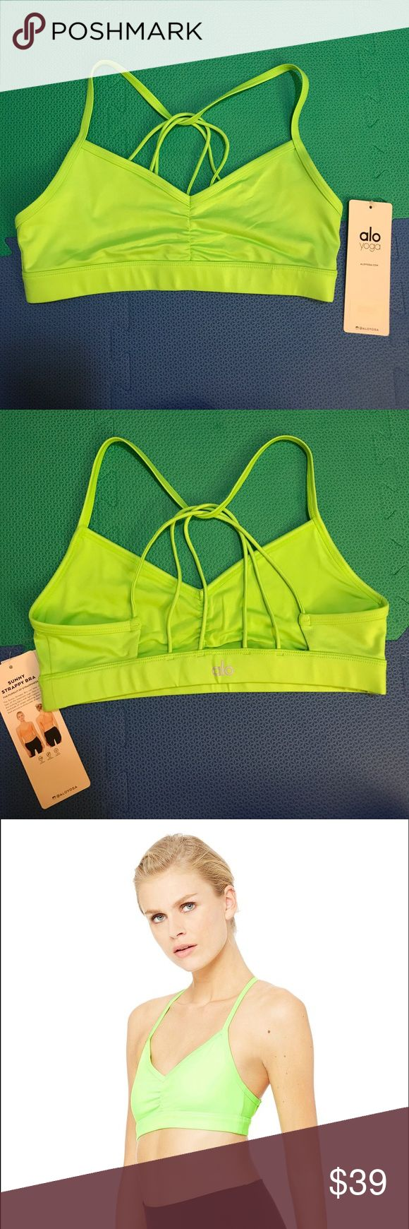 Alo yoga sunny strappy bra (glow stick Glossy) Brand new (NWT) alo yoga sunny Strappy Bra, never worn. Beautiful light green (looks so much more vibrant and pretty in person, the picture doesn't do it justice!) ALO Yoga Intimates & Sleepwear Bras