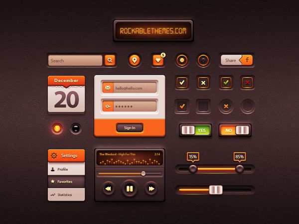 Caramel UI kit by Dominique Torfs, via Behance