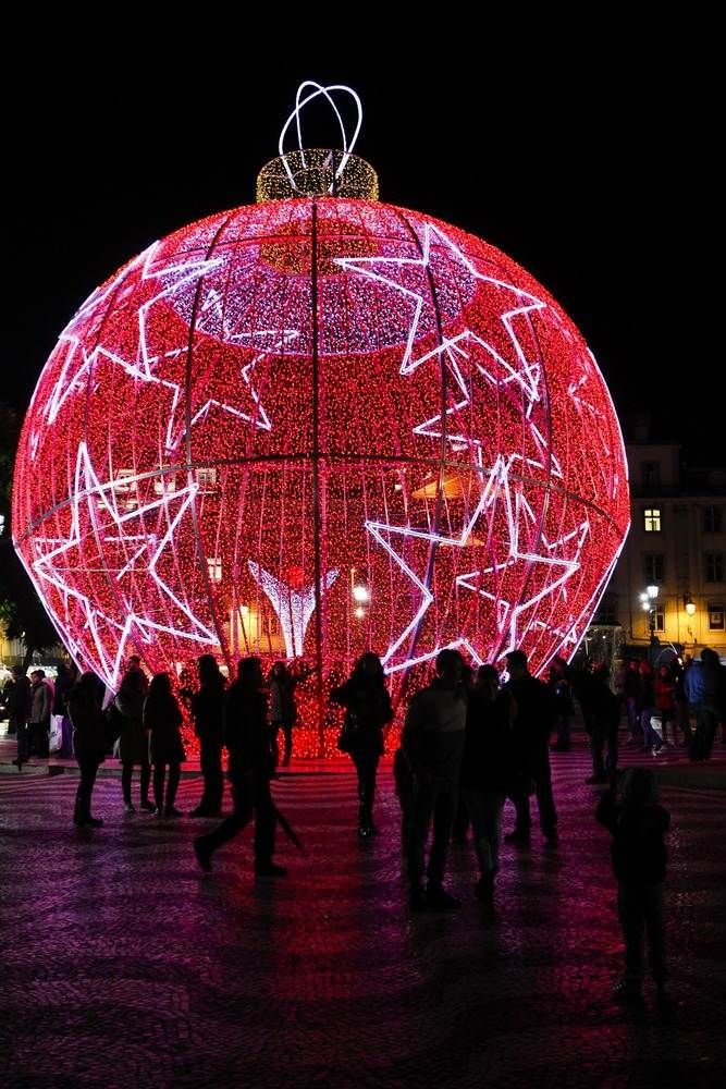 Christmas Ball, Rossio square in Lisbon, Portugal
