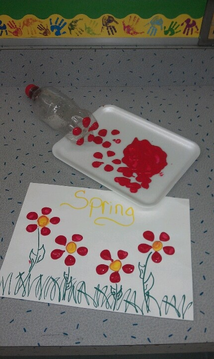 Another purpose for a pop bottle! Dip the bottom of the bottle into paint and then press on paper! Great for young kids or kids with special needs...very easy!