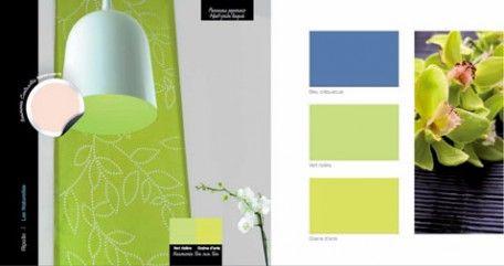 couleurs decoration peinture bleu et vert anis, couleur complémentaire le nacre