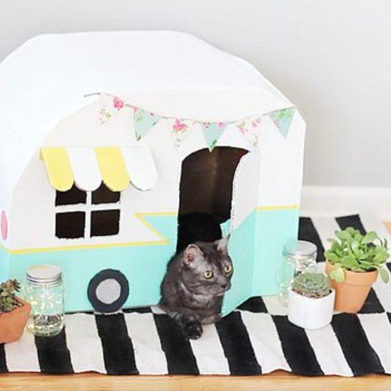 DIY cat camper   A cute cat house to make   cat crafts   Pet crafts  