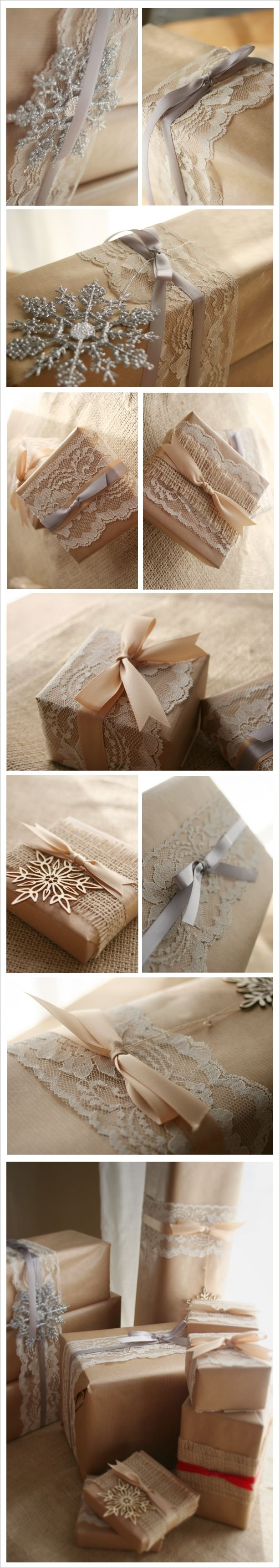 wrapping with brown paper, lace and ribbon... A roll of brown paper at Lowe's is only about $5.00 the rest you can get cheap at crafy stores and still have more for years to come!