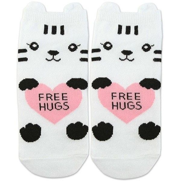 Forever21 Cat Graphic Ankle Socks ($2.90) via Polyvore featuring intimates, hosiery, socks, cat socks, tennis socks, short socks, forever 21 socks y ankle socks