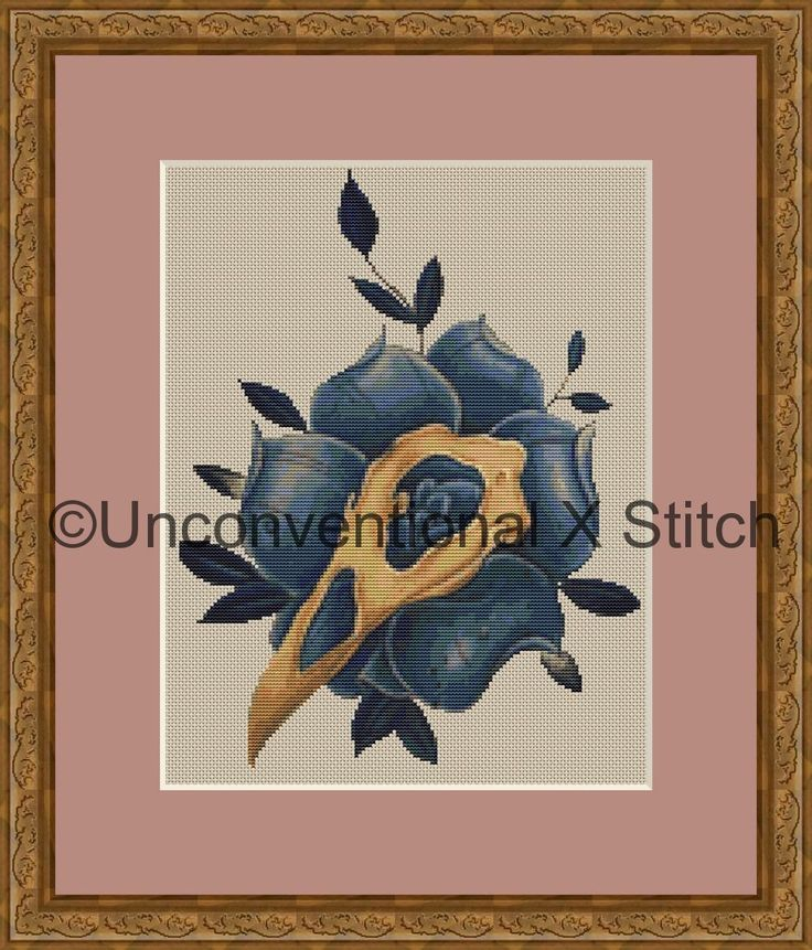 Blue rose and bird skull cross stitch pattern - Nevermore modern counted cross stitch pattern by UnconventionalX on Etsy