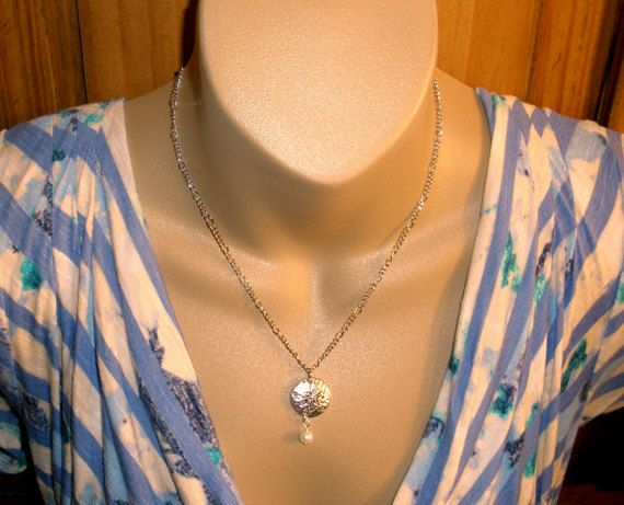 Sand Dollar Necklace Earring Set Silver Pearl by DimmittDesigns #womens #sanddollar #beach #necklace #sand #sea #girls