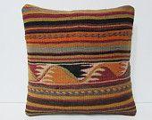 kilim pillow retro rug 16x16 decorative accessories rustic fabric designer pillow unusual gift tribal pillow cover throw pillow case 24716
