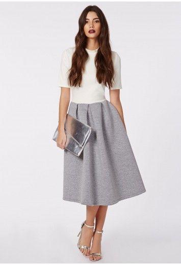 409ffb1c029d Breanna Ponte Midi Skater Dress Cream Grey - Dresses - Skater Dresses -  Missguided