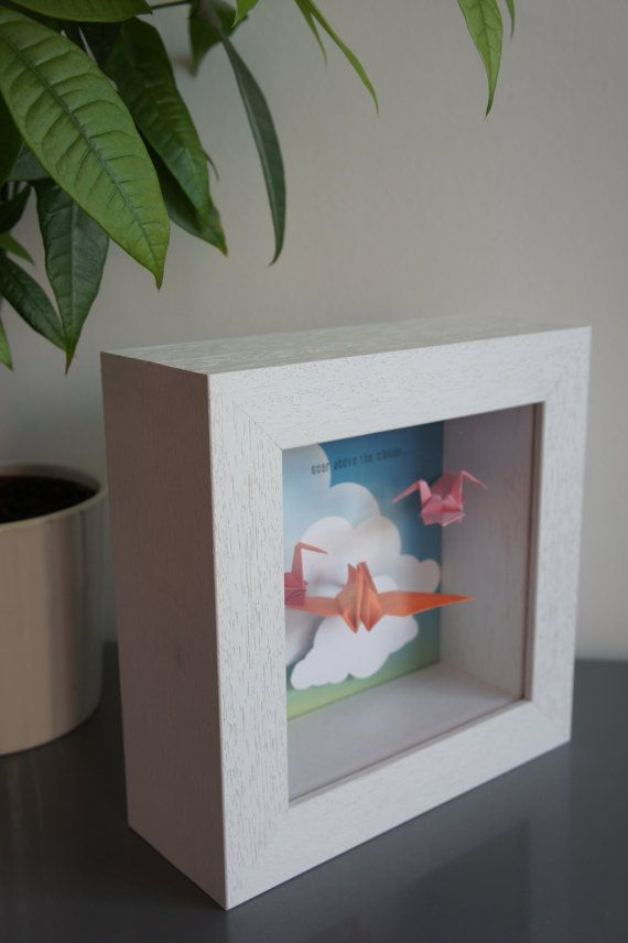 Soar above the clouds! Shadow box framed art with suspended Origami cranes by APYstudio, £27.00