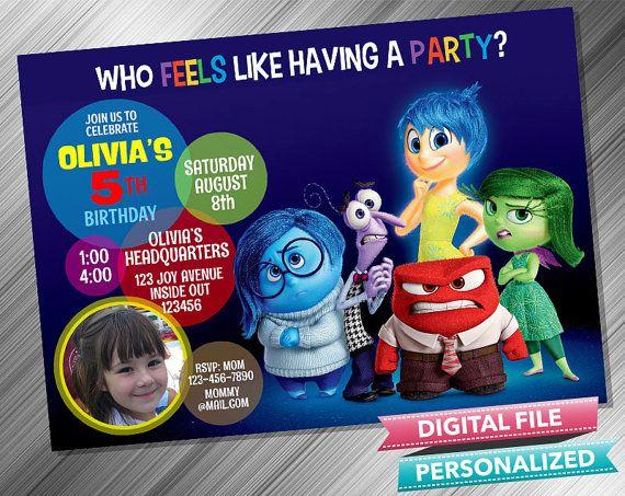 Inside Out Birthday Invitation by kidspartydiy on Etsy