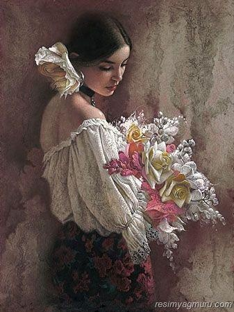 <3 Love the dash of pink in the flowers, and the pink roses on the skirt.. Lovely/ Artist: unknown