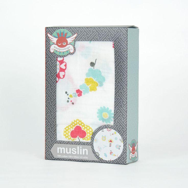 Weegoamigo Printed Muslin - Floralmetric $14.95
