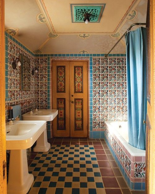 228 best spanish revival bathrooms images on pinterest for Spanish colonial bathroom design