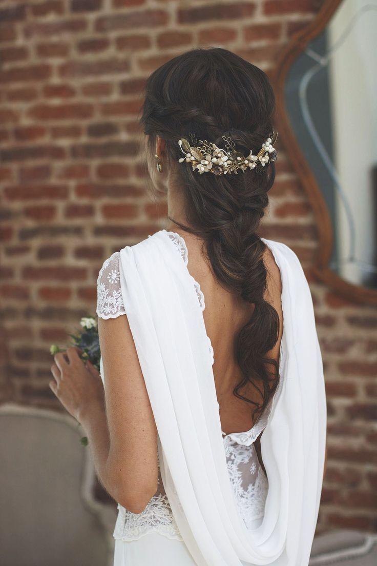 Peinado novia trenza tocado –