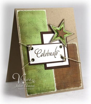 handmade card ... Celebrate in artsy earthy colors ... olive, vanilla and browns .. would be a great guy card ... Verve