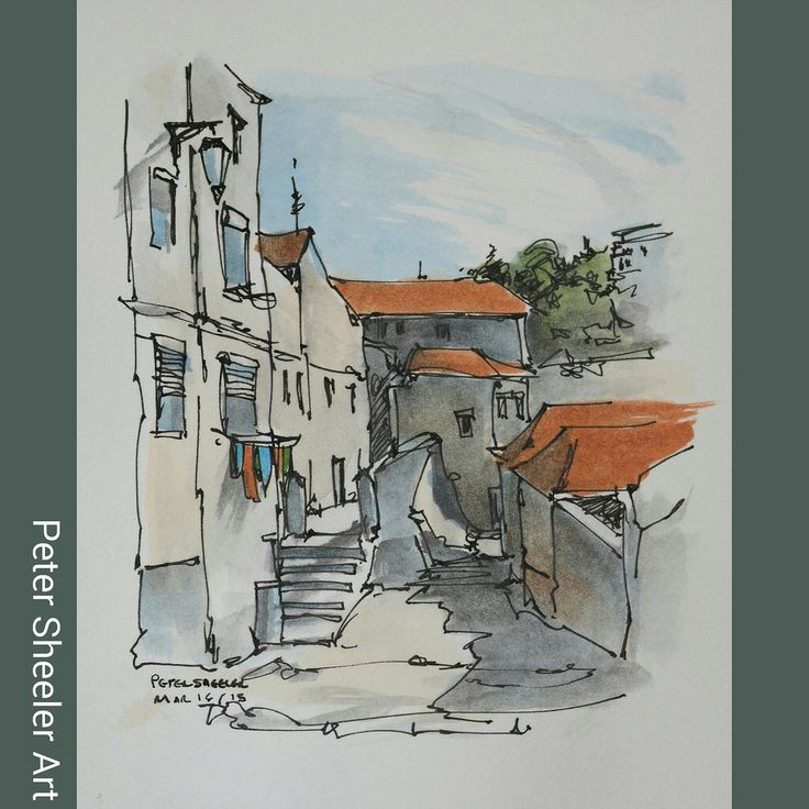 Painted on location in Porto. I like the simplicity of this piece. www.ebay.ca/usr/sheelerart . #town #urban #buildings #landscape #street #art #artist #original #watercolor #watercolour #painting #paintingaday #penandink #waterbrush #pleinaire #urbansk