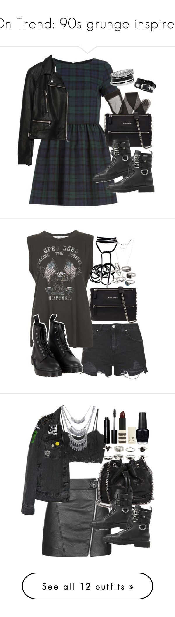 """""""On Trend: 90s grunge inspired"""" by ferned ❤ liked on Polyvore featuring River Island, Zara, Givenchy, Giuseppe Zanotti, GUESS, Balenciaga, Topshop, Project Social T, Dr. Martens and H&M"""